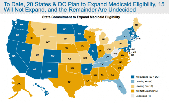 Where states currently stand on the Medicaid expansion. This will almost certainly change.