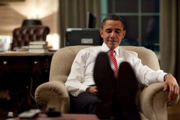 president obama feet up