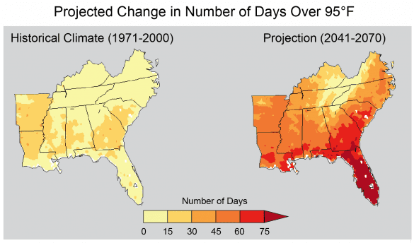 days over 95 in the southeast
