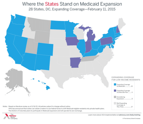 medicaid expansion states february 2015