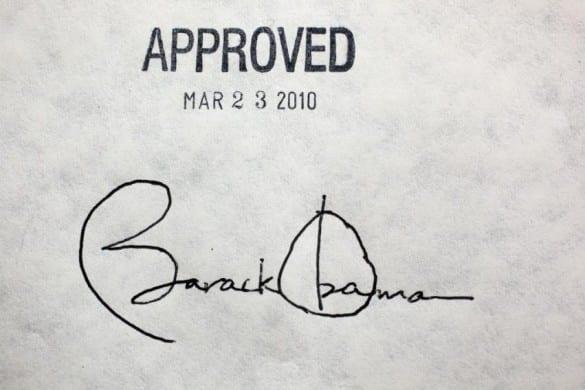obama signature on ACA