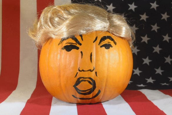trump pumpkin american flag